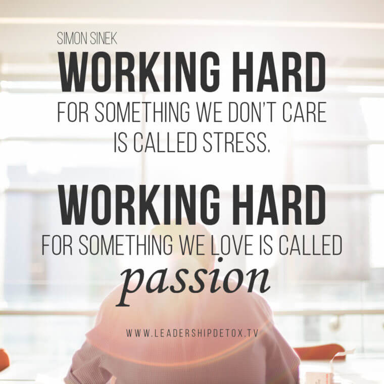 Working hard for something we don't care is called stress. Working hard for something we love is called passion. - Simon Sinek